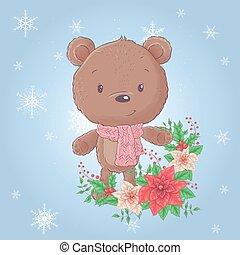 Cute cartoon christmas bear with poinsettia. Vector illustration