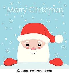 Cute Cartoon Christmas Card with Santa Claus - vector illutration