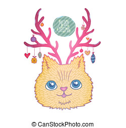 Cute cartoon Christmas cat with deer horns