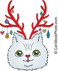 Cute cartoon Christmas cat with deer horns