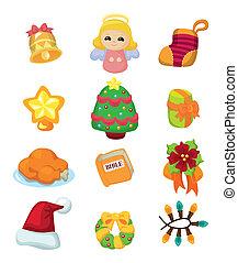 cute cartoon Christmas element icon set