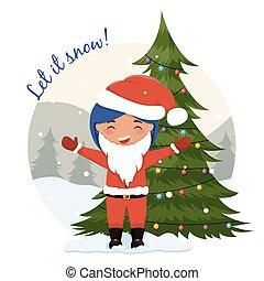 Cute cartoon Christmas illustration