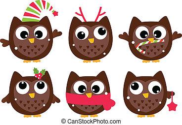 Cute cartoon christmas Owls set isolated on white