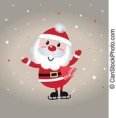 Cute cartoon christmas Santa claus on snowing background