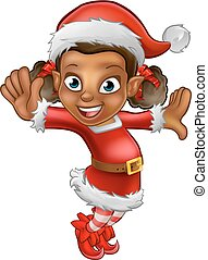 Cute Cartoon Christmas Santa Helper Elf
