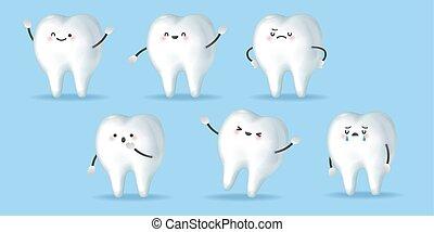 cute cartoon clean tooth