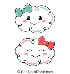Cute cartoon clouds