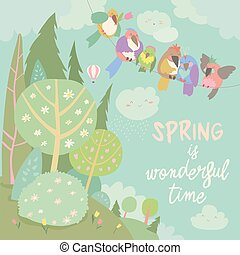 Cute cartoon colorful birds and spring landscape