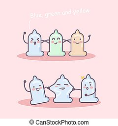 cartoon colorful condom friends