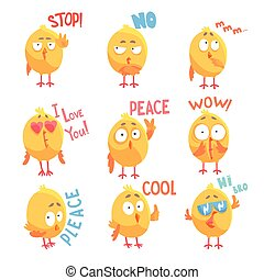 Cute cartoon comic chickens characters with different emotions and phrases set of vector Illustrations