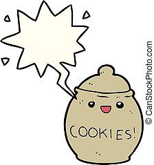 cute cartoon cookie jar and speech bubble