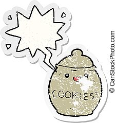 cute cartoon cookie jar and speech bubble distressed sticker