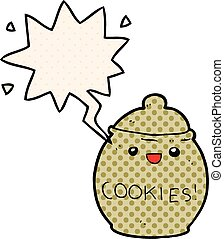 cute cartoon cookie jar and speech bubble in comic book style