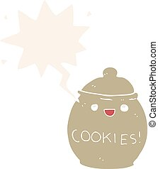 cute cartoon cookie jar and speech bubble in retro style