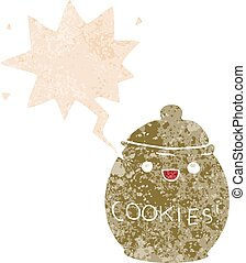 cute cartoon cookie jar and speech bubble in retro textured style