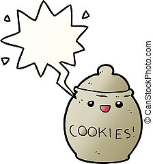 cute cartoon cookie jar and speech bubble in smooth gradient style