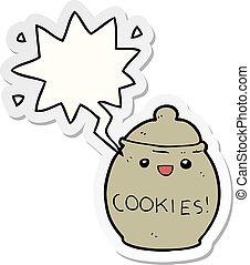 cute cartoon cookie jar and speech bubble sticker