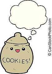 cute cartoon cookie jar and thought bubble