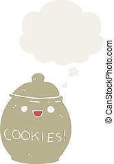 cute cartoon cookie jar and thought bubble in retro style