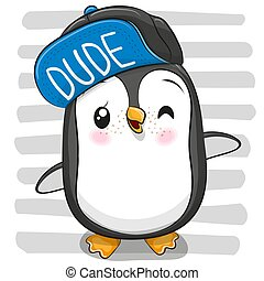 Cool Penguin with a blue cap on striped background