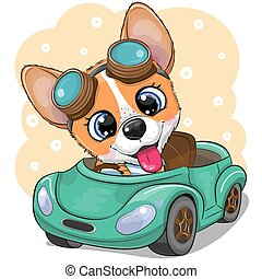 Cartoon Corgi in glasses goes on a green car