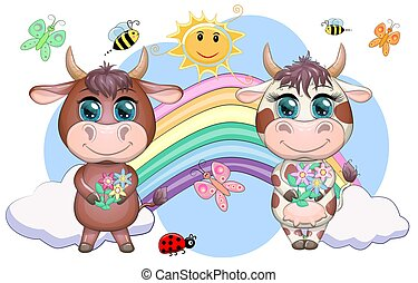Cute cartoon couple cow and bull with flowers on a rainbow background. Symbol of the year 2021 according to the Chinese calendar. Children's illustration