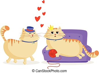 Happy Valentines Postcard With Cute Cartoon Couple Of Cats In Love Happy Valentines Day Greeting Card With Cute Cartoon Cats Canstock