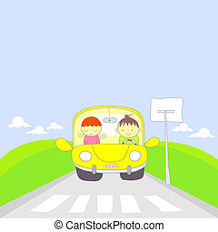 Cute cartoon couple traveling by ca