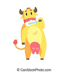 Cute cartoon cow brushing teeth with tooth brush and paste colorful character, animal grooming vector Illustration