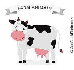 Cute cartoon cow vector illustration. Cartoon cow isolated...
