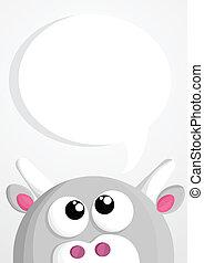 Cute cartoon cow with speech bubble