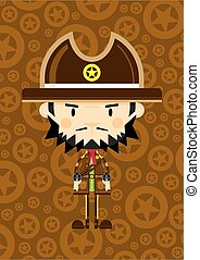 Cute Cartoon Cowboy Sheriff