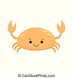 Cute cartoon crab isolated on white background. Kawaii crab in flat style