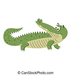 Cute Cartoon Crocodile in Natural Pose Isolated