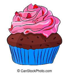 Cute cartoon cupcake Isolated on the white background. Vector illustration.