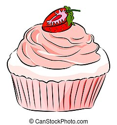 Cute cartoon cupcake with strawberry Isolated on the white background. Flat style. Vector illustration