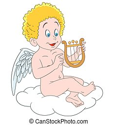 cute cartoon cupid - romantic and lovely cartoon cupid,...