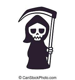 Cute cartoon death - Cute death with scythe, isolated black...