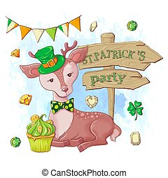 Cute cartoon deer and party pointer, card for St. Patrick's Day. Vector illustration