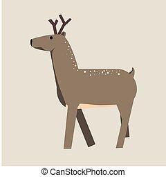 Cute cartoon deer. Vector Illustration