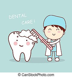 cute cartoon dentist brush tooth