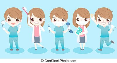 cute cartoon dentist take different tools with blue background