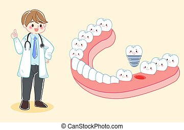 dentist with tooth and implant