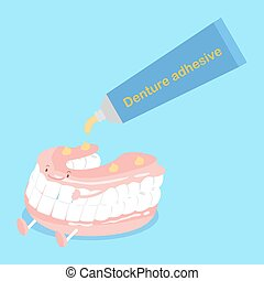 cute cartoon denture with adhesive on blue background