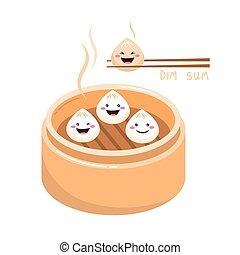 Cute cartoon Dim sum traditional Chinese dumplings