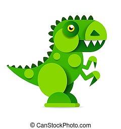Cute cartoon dinosaur on white background. Prehistoric era.