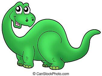 Cute cartoon dinosaur - color illustration.