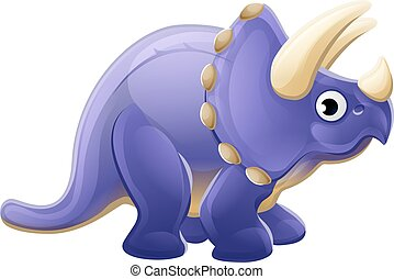 Cute Cartoon Dinosaur Triceratops - A cute cartoon dinosaur...