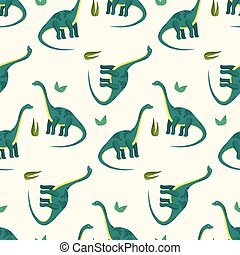 Cute cartoon diplodocus pattern for kids textile