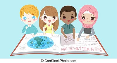 cartoon diverse children
